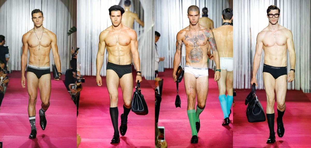 Секретный показ Dolce & Gabbana мужского белья и аксессуаров весна-лето 2019