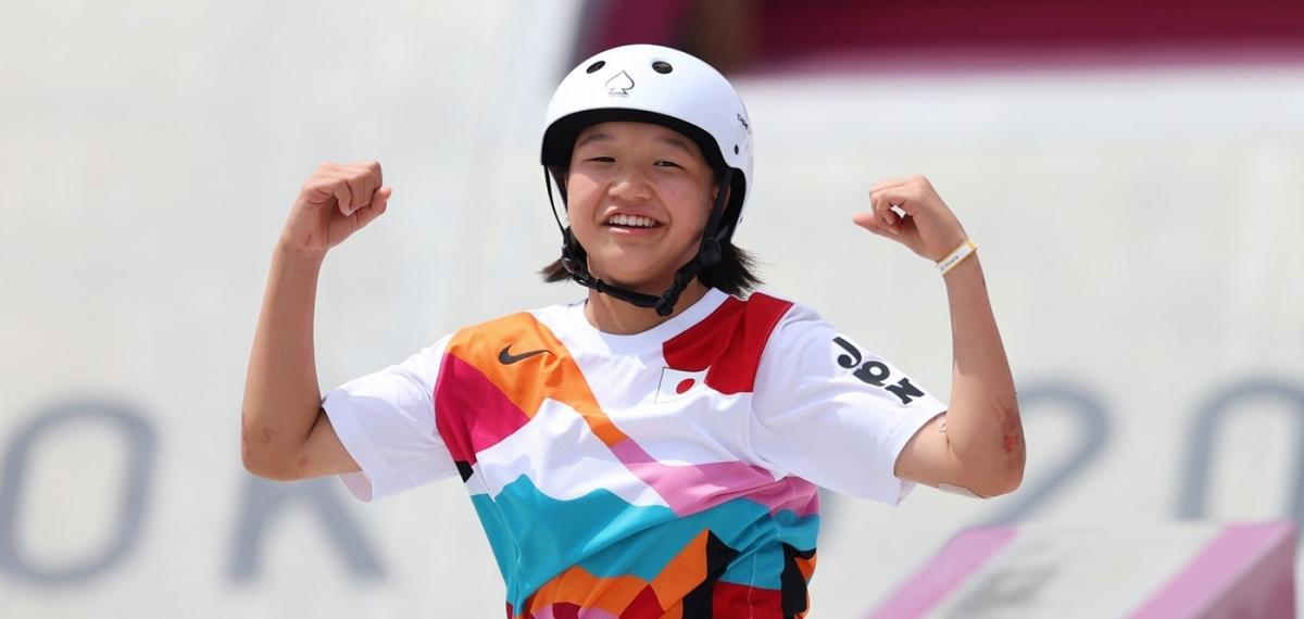13-летняя скейтбордистка Момидзи Нишия стал вторым самым молодым олимпийским чемпионом за всю историю